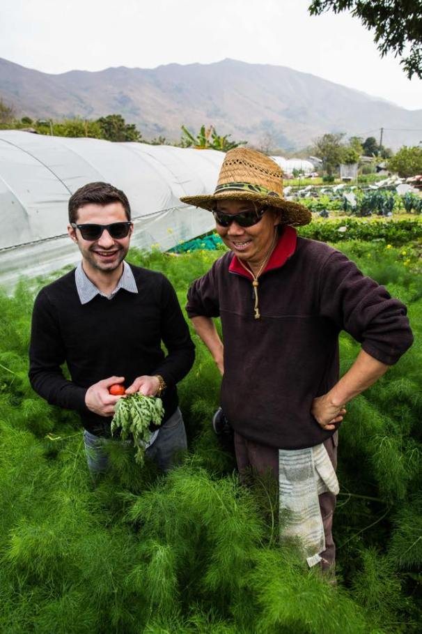 Vinny Lauria (left). Partner and Chef checking out Vietnam's finest organic produce.